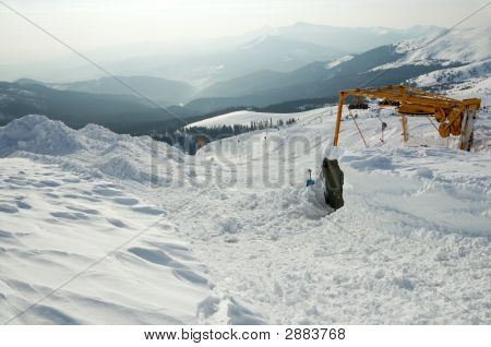 Snow-Covered Ski Ropeway