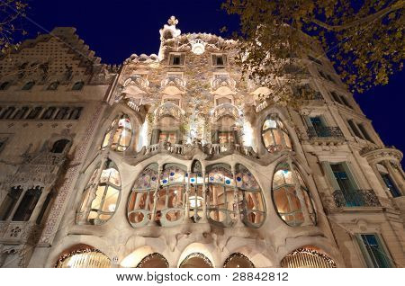 BARCELONA, SPAIN - DECEMBER 10: Casa Batllo in Barcelona, Spain on December 10, 2011 was created by Antoni Gaudí in 1904 for the industrialist Josep Batllo.