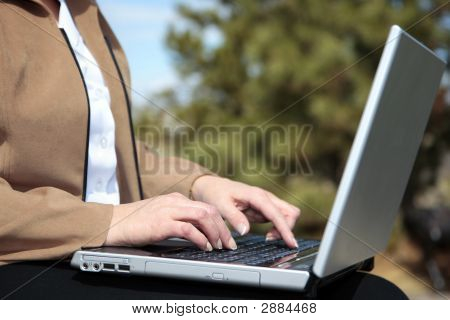 Woman Working Outdoors On Laptop Computer #2