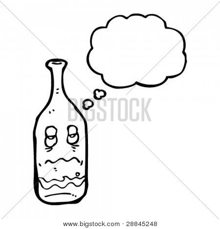 cartoon wine bottle with hangover