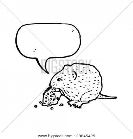 mouse nibbling cheese with speech bubble illustration