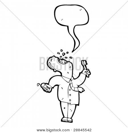 man with speech bubble brushing teeth