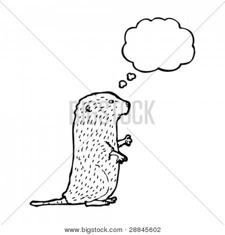 water vole illustration with thought bubble