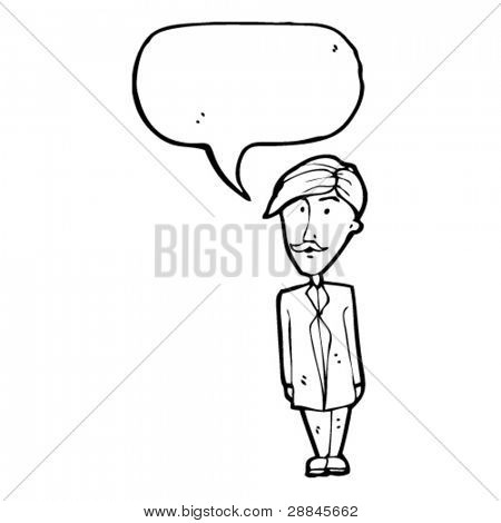 sensible mustache man with speech bubble