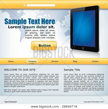 vector website design template with mobile device