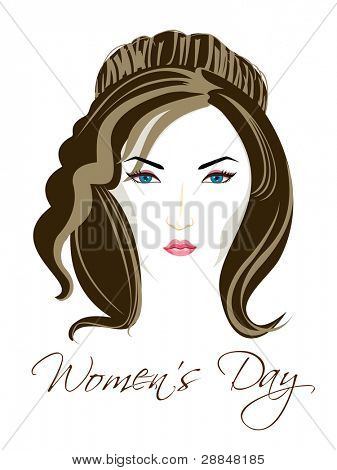 Vector illustration of a beautiful girl with blue eyes and brown hairs on isolated white background for Women's Day.