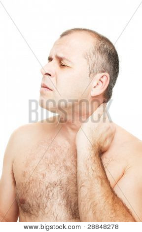 Nude man with neckache isolated on white background