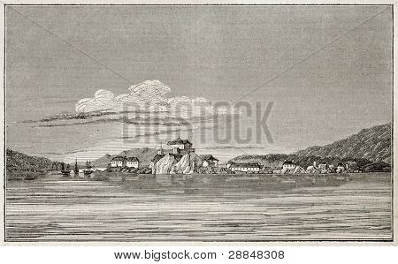 Sitka old view, Alaska (formerly New Archangel during Russian rule). By unidentified author, published on Magasin Pittoresque, Paris, 1845