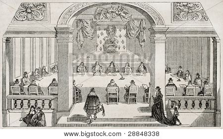 Academie Francaise (French Academy) session hall in Louvre palace (official seat until 1805). After 17th century old print, published on Magasin Pittoresque, Paris, 1845