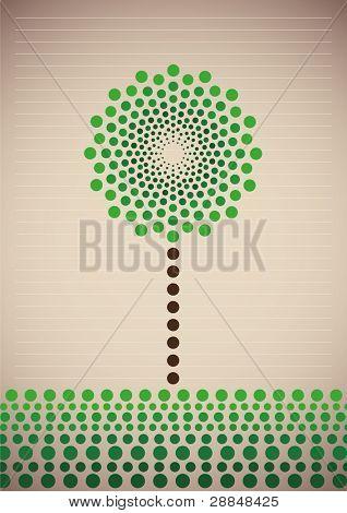 Árbol estilizado ilustrado. Ilustración del vector.