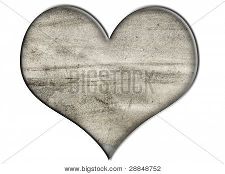 a heart with stone texture on a white background