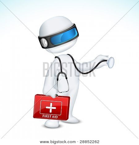 illustration of 3d doctor in vector fully scalable standing with first aid box and stethoscope