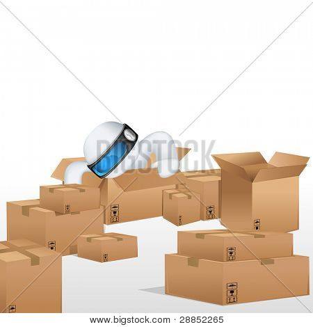 illustration of 3d man in vector fully scalable sitting in cardboard box for cargo