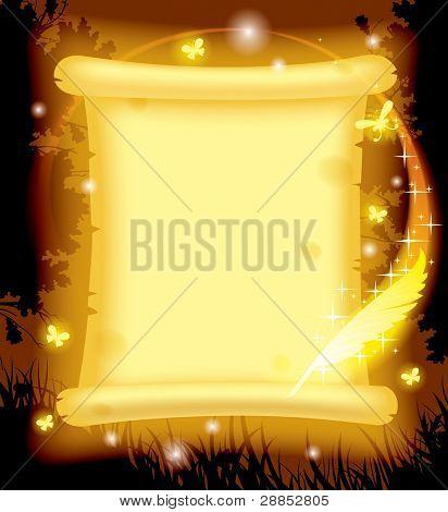 Pergamino de versión de vector de la imagen de hadas brillante amarillo trama con mariposas luminiscentes y ma