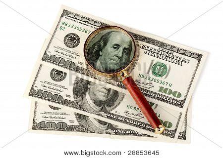 Hundred Dollar Bill Under A Magnifying