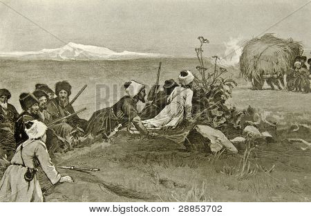 Cossacks in the war. Illustration by artist Zahar Pichugin from book