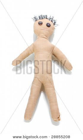 Voodoo doll boy isolated on white