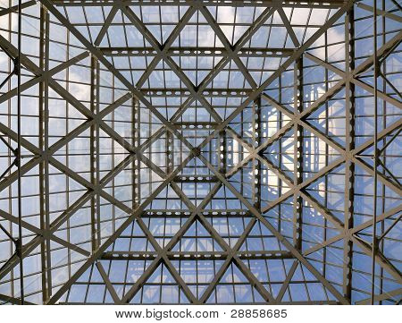Glass Roof In Modern Office Building