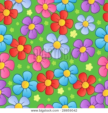 Flowery seamless background 1 - vector illustration.