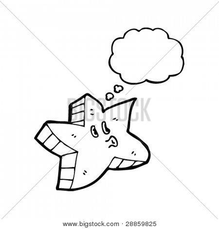 personaje de dibujos animados de estrellas kitsch