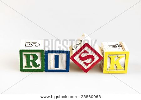 Risk word made by letter blocks