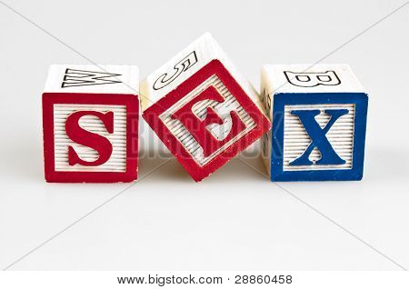 Sex word made by letter blocks