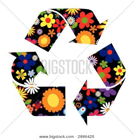 Recycle Sign With Flowers