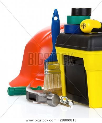 construction toolbox and tools isolated on white background