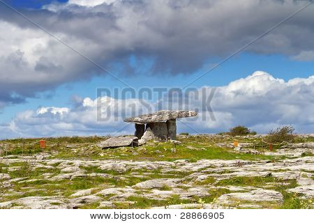 5 000 years old Polnabrone Dolmen in Burren, Ireland