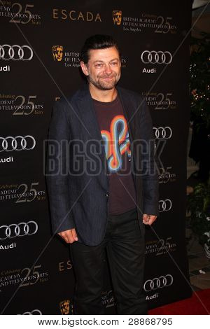 LOS ANGELES - JAN 14:  Andy Serkis arrives at  the BAFTA Award Season Tea Party 2012 at Four Seaons Hotel on January 14, 2012 in Beverly Hills, CA