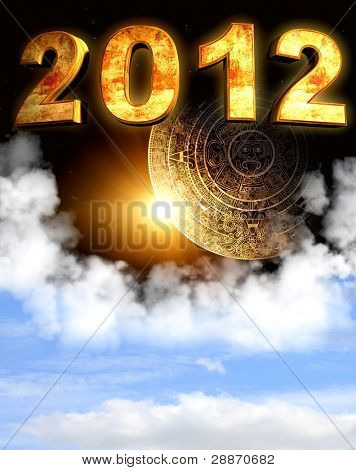 2012. Maya prophecy. Vertical background with calendar and space cloud