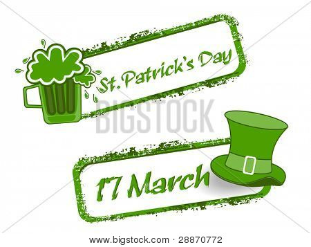 Green grunge rubber stamp with Beer mug,cap and the text St. Patrick's Day written inside, vector illustration