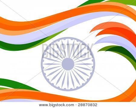 Vector illustration of waves in Indian trio color with ashok wheel on white isolated background for Republic Day and Independence Day.