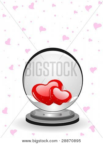 Vector-illustration a snow-dome over seamless pink heart shape background for Valentines Day and other occasions.