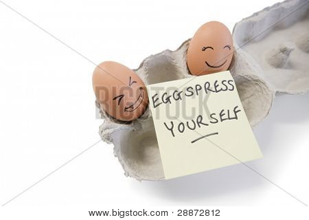 Two eggs with a 'eggspress yourself' note