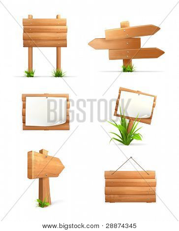 Wooden signs set, 10eps