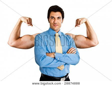 Funny businessman showing an additional pair of muscular arms
