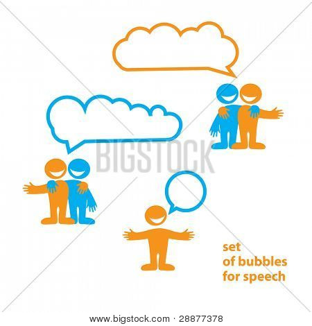 People are talking. Paper bubbles for speech. Vector.