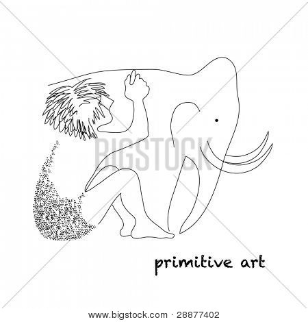 Illustration - primitive art - rock paintings. Primitive man draws a mammoth