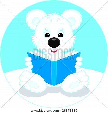 Polar bear cub reading a book