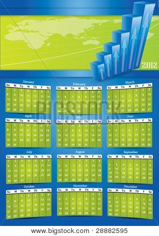 2012 vector calendar with financial banner