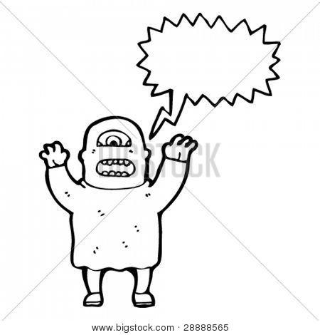 ogro con dibujos animados de burbujas de discurso
