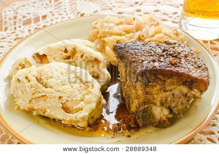 Czech meal - pork ribs, bread dumplings and simmered cabbage