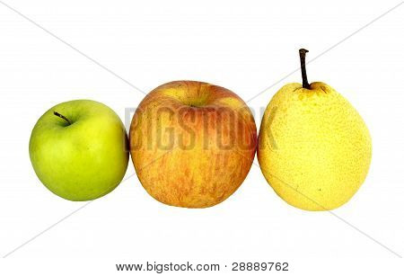 Apple And Nashi Pear On White Background