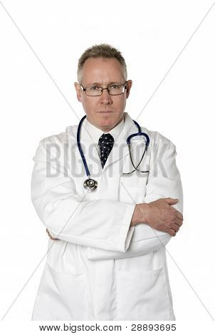 Serious Doctor Isolated On White