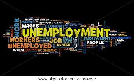 Unemployment concept in word tag cloud on black background