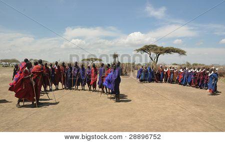 OLDUVAI GORGE, TANZANIA, DECEMBER 23, 2011 Masai Villagers gather