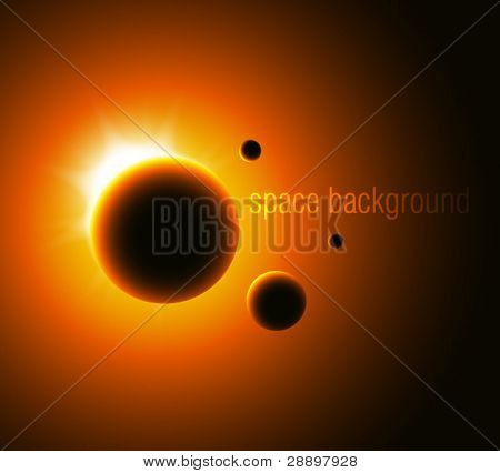 Space background with yellow sun light. No expand gradient.