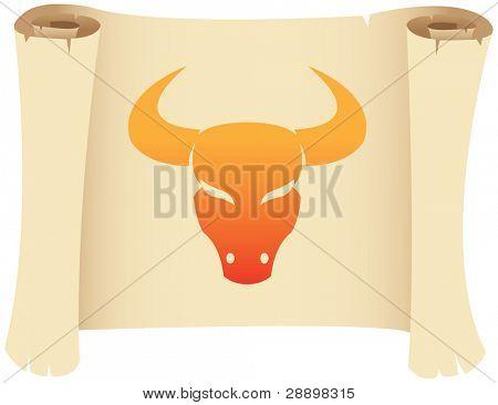 Taurus zodiac star sign on a grunge manuscript
