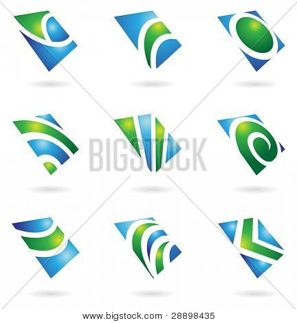 green glossy logos and graphic design elements